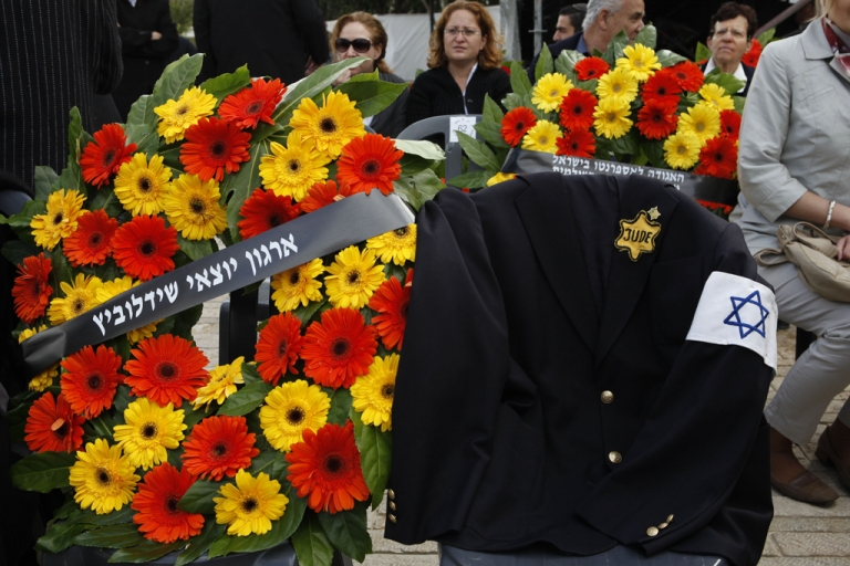 <p>A jacket belonging to Polish-born Israeli Holocaust survivor Mordechai Fuchs, who passed away three months ago, with a Star of David and
