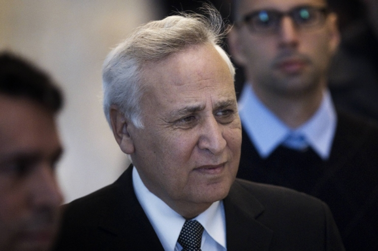 <p>Former Israeli president Moshe Katsav arrives at the Supreme Court in Jerusalem for the reading of his sentence after appealing his conviction for rape and other sexual assault charges on November 10, 2011.</p>
