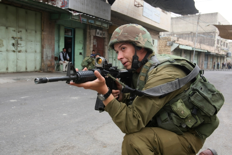 <p>An Israeli soldier in the West Bank.</p>