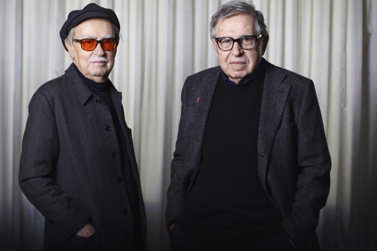 <p>Italian directors Vittorio Taviani (left) and his younger brother Paolo Taviani attend