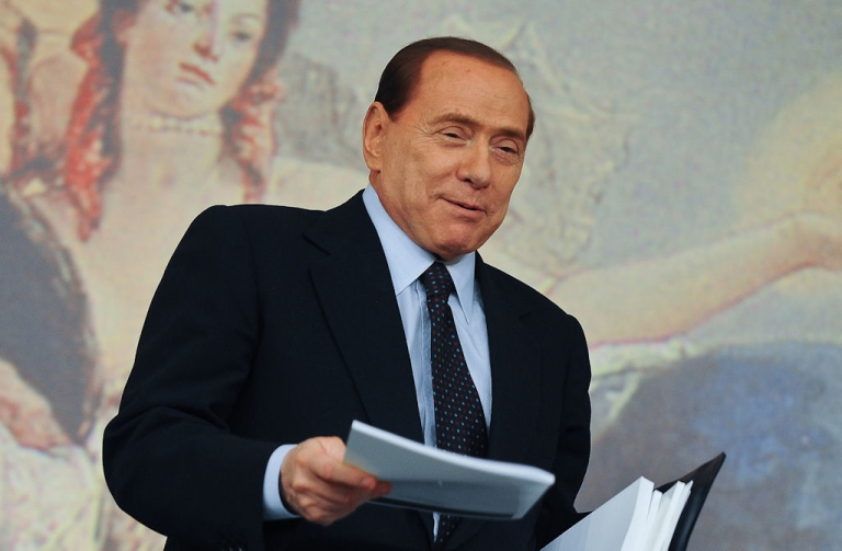 <p>Italian Prime Minister Silvio Berlusconi at the end of a news conference held at Chigi palace in Rome the end of the minister's council on April 13, 2011.</p>