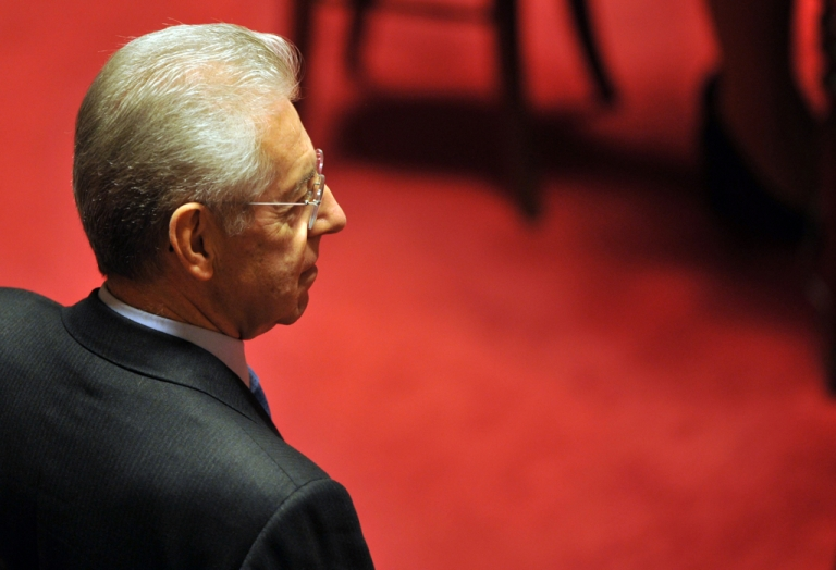 <p>Italy's former EU commissioner Mario Monti, tipped to replace outgoing Prime Minister Silvio Berlusconi, arrives at the Senate in Rome, on November 11, 2011.</p>