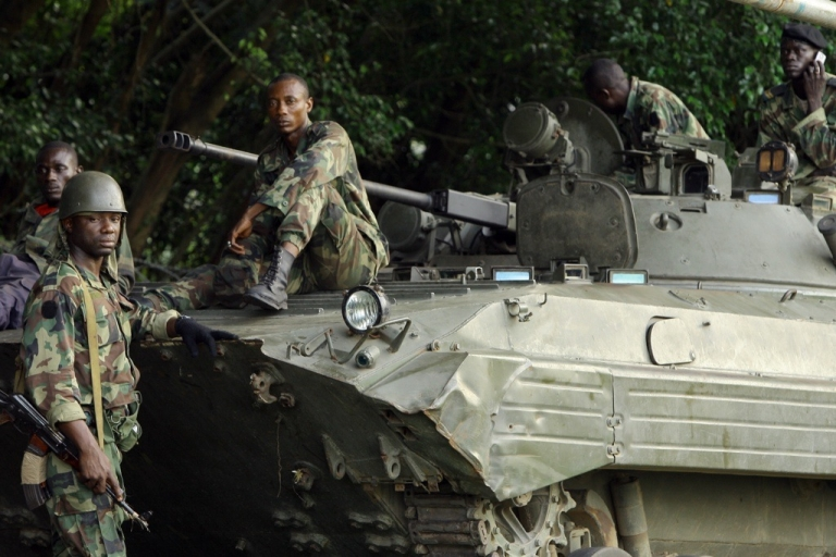 <p>Ivory Coast's soldiers of internationally recognized leader Alassane Ouattara's forces in Abidjan on April 3, 2011. A violent showdown looms between Ouattara's supporters and those of strongman Laurent Gbagbo.</p>