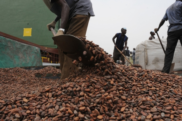 <p>The United States could boost the economic development of the world's poorest countries by allowing them to freely export their goods to U.S. markets. Here, workers load bags with cocoa beans on January 18, 2011 at the Port of Abidjan where 80% of Ivory Coast's exports transit.</p>
