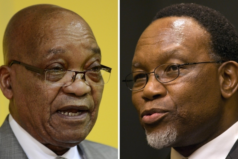 <p>South African President Jacob Zuma (L) and his challenger Kgalema Motlanthe (R). The two men are vying to lead the African National Congress, and likely the country, during the ANC conference on Dec. 16.</p>
