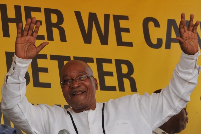 <p>South Africa President Jacob Zuma speaks on Jan. 6, 2012 in Botshabelo, South Africa.</p>