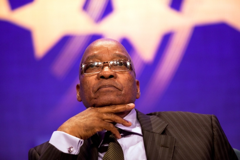 <p>The president of South Africa, Jacob Zuma, looks on during the opening plenary, called Leaders Dialogue on Climate Change, of the seventh annual meeting of the Clinton Global Initiative on Sept. 20, 2011, in New York City.</p>