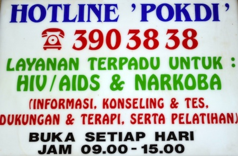 <p>A sign promoting HIV counseling service in Indonesia.</p>