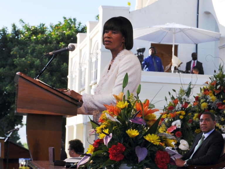 <p>Portia Simpson Miller at her swearing in as Prime Minister of Jamaica yesterday. She called for a Jamaican to replace Britain's Queen Elizabeth II as the country's ceremonial head of state.</p>