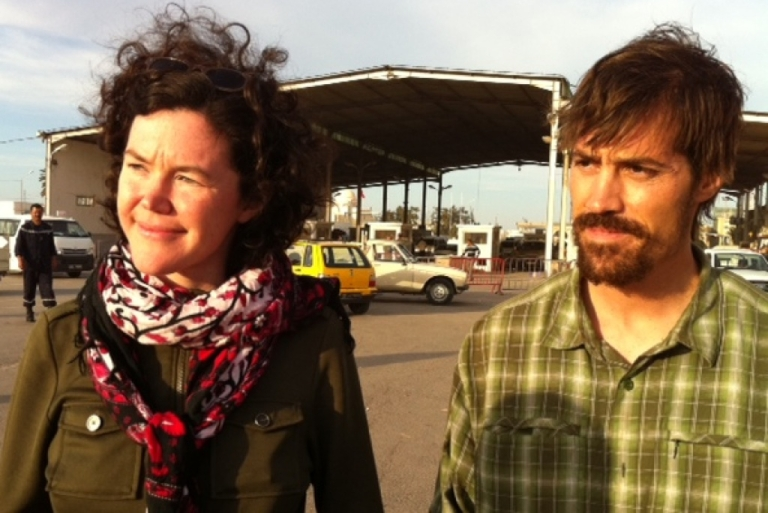 <p>American reporters James Foley and Clare Gillis cross into Tunisia after six weeks of detention in Libya.</p>
