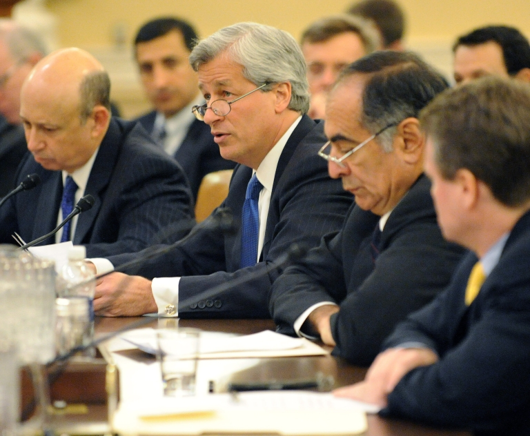 <p>(L-R) Lloyd Blankfein, CEO of Goldman Sachs Group, Inc., Jamie Dimon, CEO of JPMorgan Chase &amp; Company, John Mack, former CEO of Morgan Stanley and Brian Moynihan, CEO and president of the Bank of America Corporation during the first public hearing of the Financial Crisis Inquiry Commission. The commission was formed to investigate the causes of the financial crisis.</p>