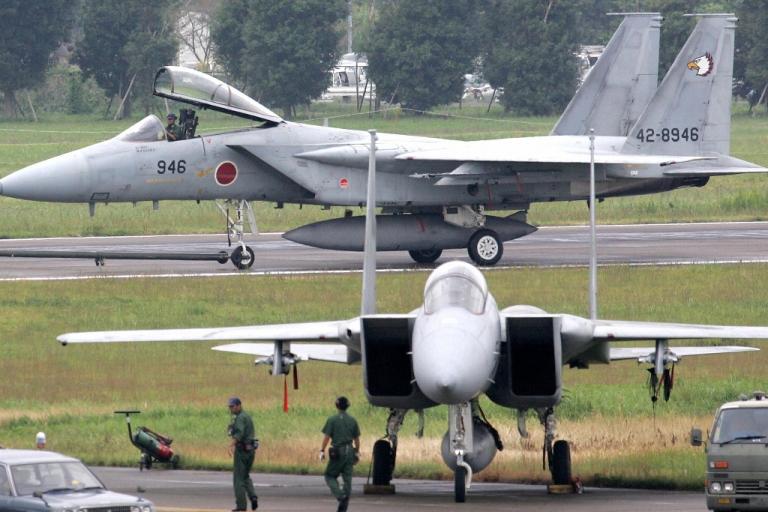 <p>Japanese F-15 fighter jets parked at Hyakuri Air Base, Ibaraki prefecture, north of Tokyo.</p>