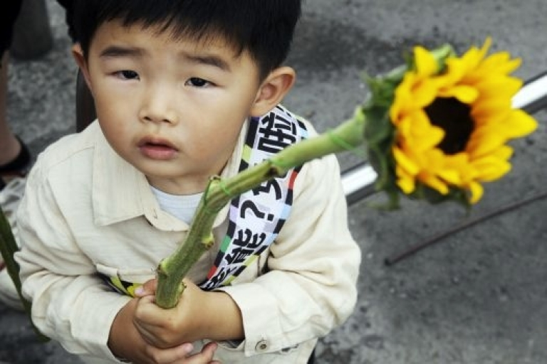 <p>A child holds a sunflower as he joins anti-nuclear power plant demonstrators on April 30, 2011.</p>
