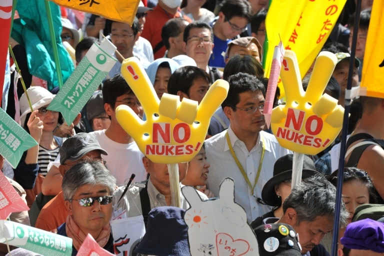 <p>Japanese at an anti-nuclear demonstration call for a safer future for younger generations at a park in Tokyo on May 5, 2012. The last working reactor in Japan was switched off May 5, 2012, leaving the country without nuclear power just over a year after the world's worst atomic accident in a quarter of a century.</p>