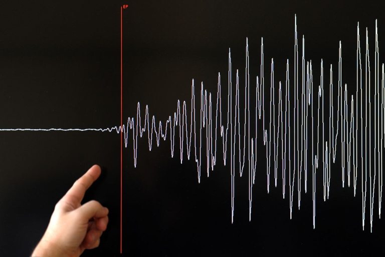 <p>A technician of the French National Seism Survey Institute presents a graph on March 11, 2011 in Strasbourg, Eastern France, registered today during a 8.9-magnitude quake that hit northeast Japan today.</p>