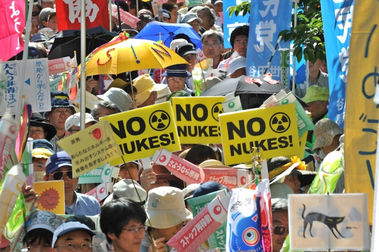 <p>Japanese gather at an anti-nuclear demonstration in Tokyo today, which is also Children's Day, calling for a safer future for younger generations.</p>