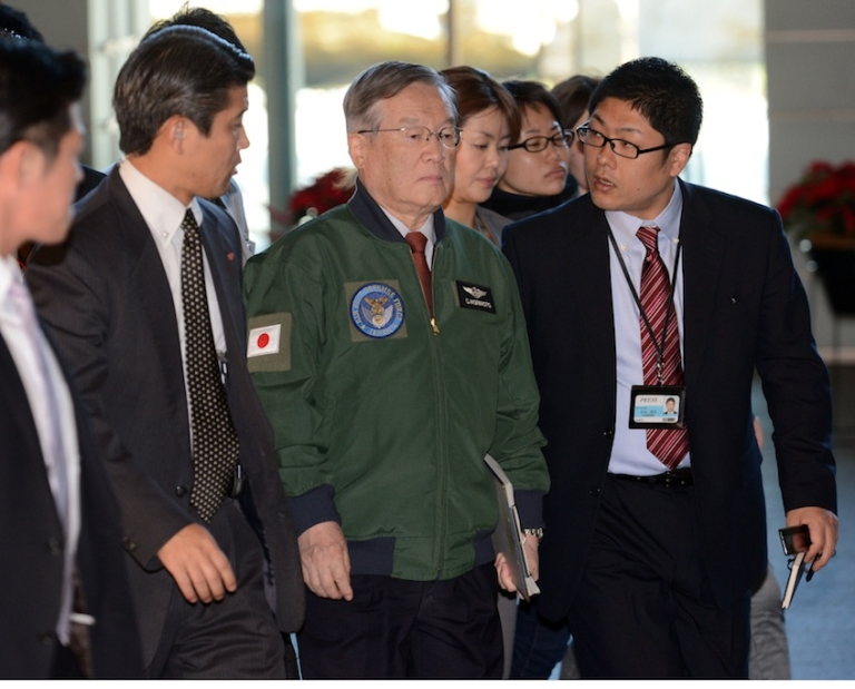 <p>Japan's Defense Minister Satoshi Morimoto (C) is surrounded by reporters upon his arrival at the prime minister's official residence in Tokyo to attend a meeting of the Security Council on December 12, 2012.  North Korea successfully launched a long-range rocket in defiance of UN sanctions threats over what Pyongyang's critics have condemned as a disguised ballistic missile test.  Japan did not try to shoot down a North Korean rocket as it passed over its southern island chain of Okinawa, the government said on December 12, strongly condemning the launch.</p>