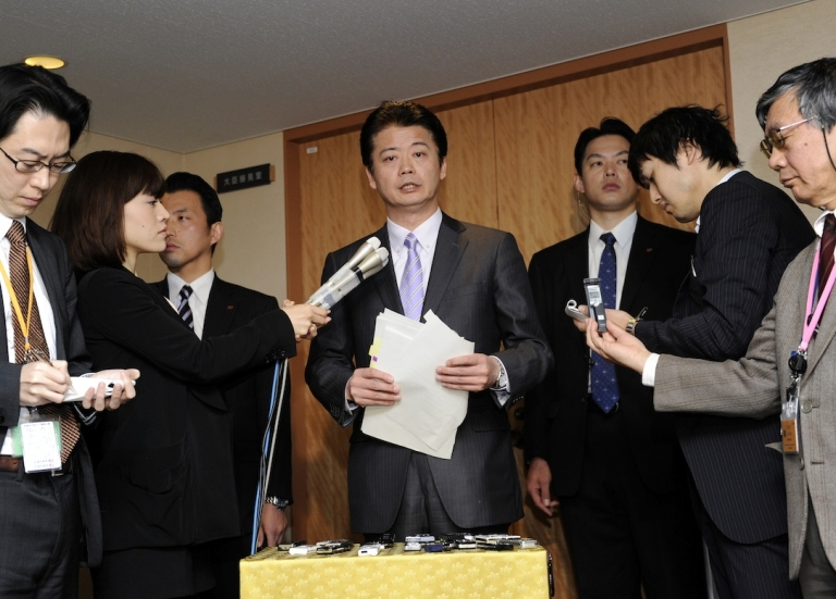 <p>Japanese Foreign Minister Koichiro Gemba speaks to reporters at his office in Tokyo on December 27, 2011 as the Japanese government decided to approve the easing of decades-old ban on arms exports.</p>