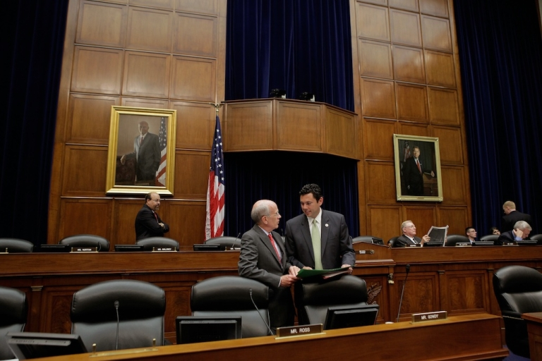 <p>US House Oversight and Government Reform Committee members Rep. Peter Welch (D-VT) (L) and Rep. Jason Chaffetz (R-UT) talk during a break in a five-hour hearing on Capitol Hill June 20, 2012.</p>