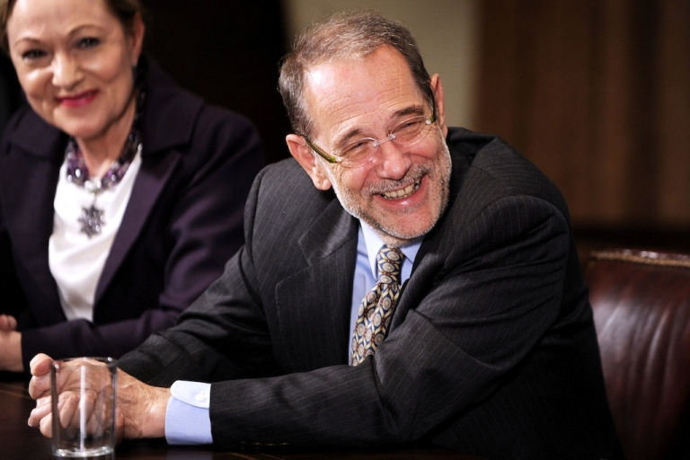 <p>Former European Council High Representative Javier Solana reacts during the U.S.-European Union Summit in the Cabinet Room at the White House in a 2009 photo. Photo by Olivier Douliery /ABACAUSA.COM</p>