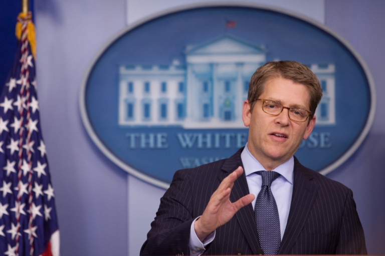 <p>White House Press Secretary Jay Carney speaks during the daily briefing at the White House in Washington, DC, on Dec. 11, 2012.</p>