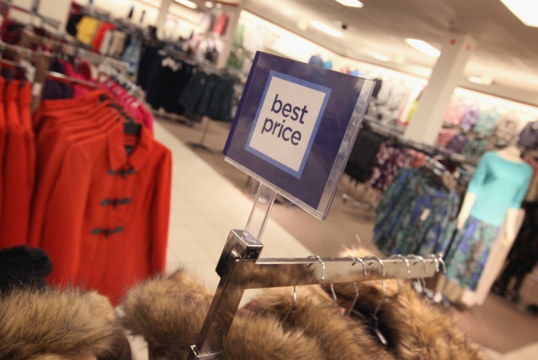 <p>Clothes on sale at a JC Penney store in the North Riverside Park Mall in North Riverside, Ill., on Feb. 1, 2012.</p>