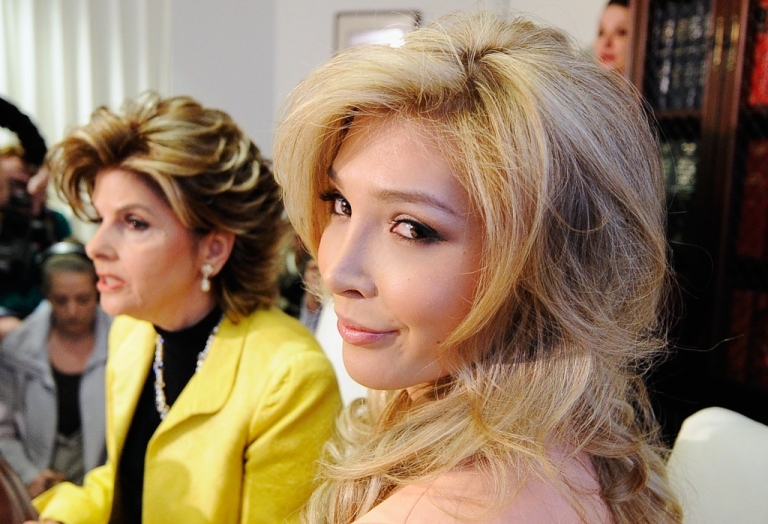 <p>Jenna Talackova (R), attends a news conference with her attorney Gloria Allred on April 3, 2012 in Los Angeles, Talackova, 23. The Miss Universe Organization will now allow transgender contestants to compete.</p>