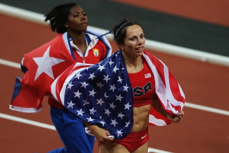 <p>Gold medalist Jennifer Suhr of the United States celebrate after the Women's Pole Vault final on Day 10 of the London 2012 Olympic Games at the Olympic Stadium on August 6, 2012 in London, England.</p>