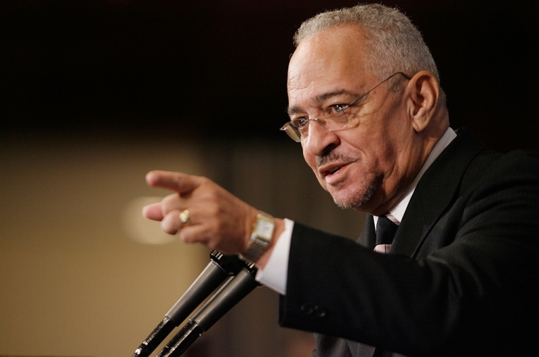 <p>Rev. Jeremiah Wright, former pastor of the Trinity United Church of Christ in Chicago, Illinois, addresses the National Press Club April 28, 2008 in Washington, DC. Wright was Democratic presidential hopeful Sen. Barack Obama's pastor for many years and he recently came under scrutiny when excerpts of one of his sermons showed him saying,