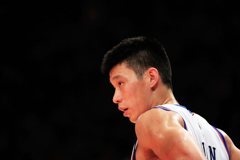<p>Jeremy Lin, #17 of the New York Knicks, at Madison Square Garden on Feb. 15, 2012 in New York City.</p>