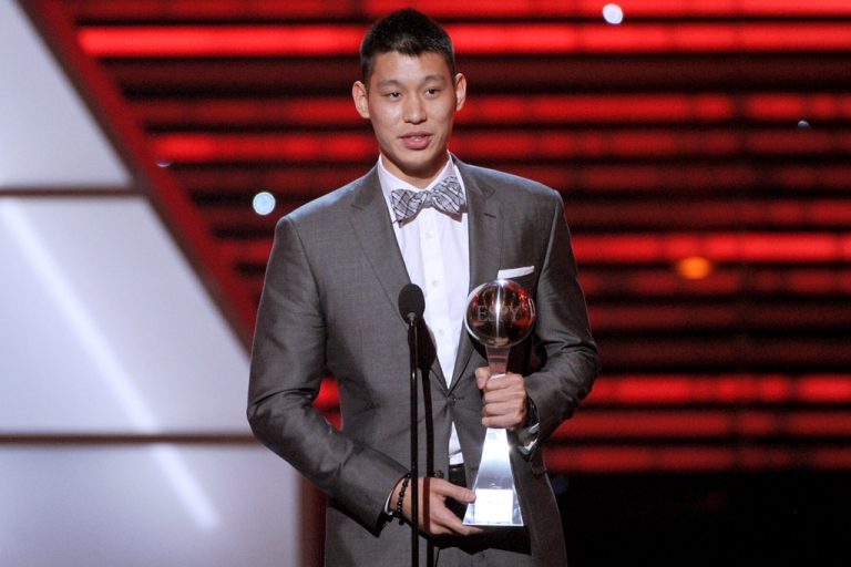 <p>NBA player Jeremy Lin accepts the Best Breakthrough Athlete award during the ESPY Awards on July 11, 2012, in Los Angeles.</p>