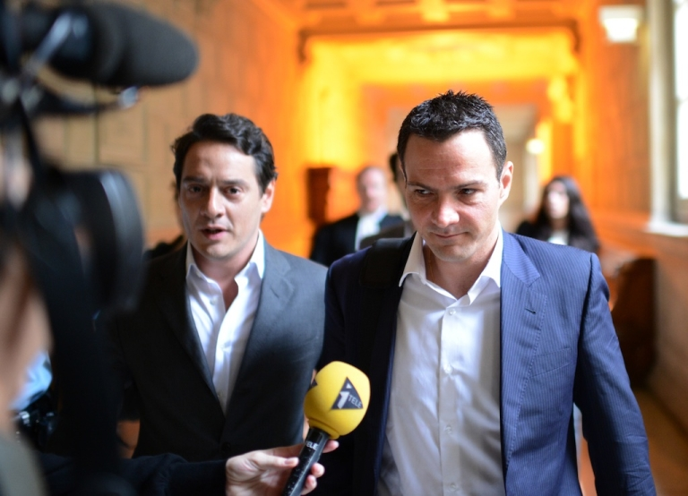 <p>Jerome Kerviel, right, arrives at the appeal court in Paris with his lawyer David Koubbi on June 4, 2012.</p>