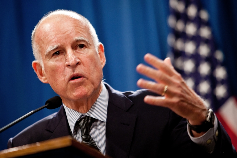 <p>California Gov. Jerry Brown announces his public employee pension reform plan at the State Capitol in Sacramento, Calif., on Oct. 27, 2011.</p>