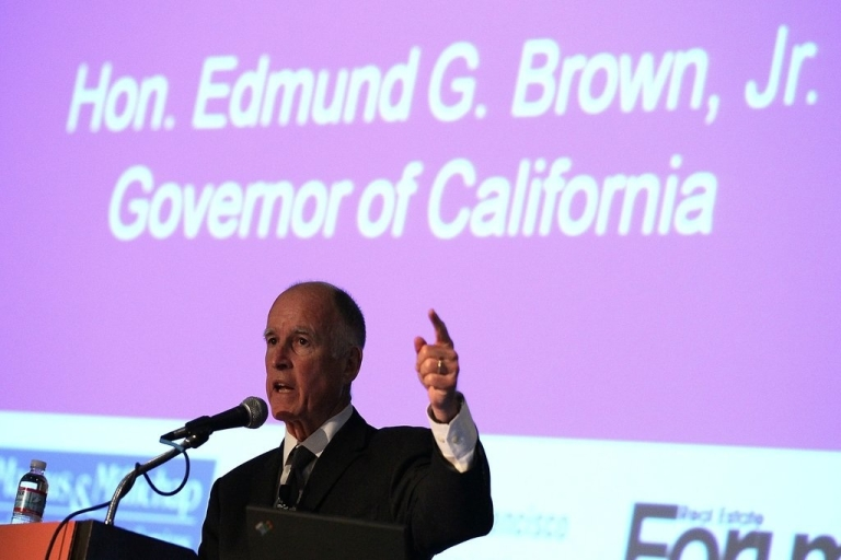 <p>California Governor, Jerry Brown at a conference earlier this year. Gov. Brown signed the landmark bill on Thursday, July 14, making California the first U.S. state where public schools are required to acknowledge the contributions of gay, lesbian, bisexual and transgender Americans.</p>