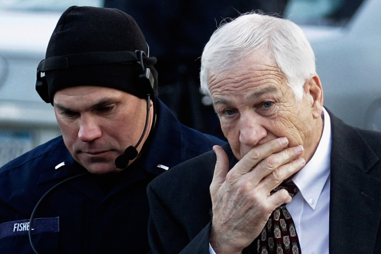 <p>Former Penn State assistant football coach Jerry Sandusky arrives at the Centre County Courthouse on December 13, 2011 in Bellefonte, Pennsylvania. Sandusky was attending a prelininary hearing on charges he sexual abused 10 boys.</p>