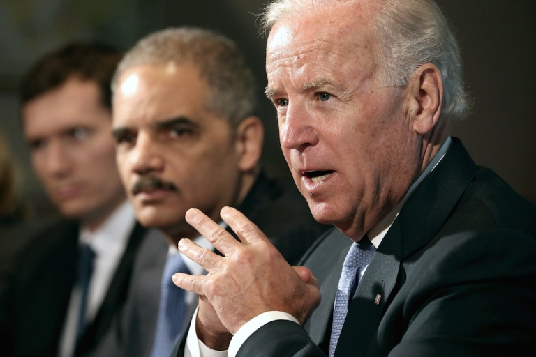 <p>Vice President Joe Biden (R) makes brief remarks to the press at the beginning of a meeting with U.S. Attorney General Eric Holder (2nd R) and gun violence survivors and victims and gun safety advocacy groups in the Eisenhower Executive Office Building January 9, 2013 in Washington, DC. President Barack Obama appointed Biden to oversee a task force on gun violence.</p>