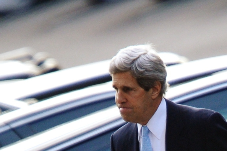 <p>US Sen. John Kerry on his way into the West Wing of the White House.</p>