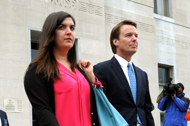 <p>John Edwards leaves the Federal courthouse with his daughter Cate Edwards Upham after Edwards' first day of trial on April 23, 2012 in Greensboro, North Carolina. The once Democratic presidential candidate, Edwards plead not guilty to six counts of campaign finance violations. If sentenced he could face a maximum of 30 years in jail and $1.5 million in fines.</p>
