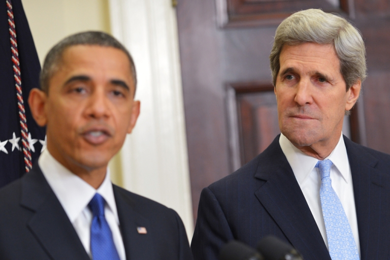 <p>US Senator John Kerry D-MA  (R) watches as US President Barack Obama announces Kerry as his choice for the next secretary of state on December 21, 2012 in the Roosevelt Room of the White House in Washington, DC.</p>