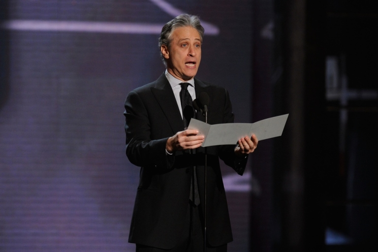 <p>Jon Stewart speaks onstage at the First Annual Comedy Awards at Hammerstein Ballroom on March 26, 2011 in New York City.</p>