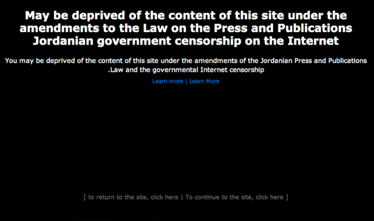 <p>Hundreds of Jordanians posted the above message on their website to protest what they see as a new law that would restrict Internet freedom.</p>