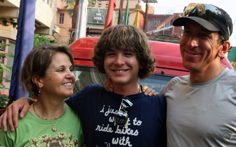 <p>US teen Jordan Romero poses with his father Paul Romero and stepmother Karen Lundgren in April 2010 as the three prepared to climb Mount Everest, the world's highest peak. Romero has just broken the record for youngest climber to scale the world's seven highest mountains.</p>