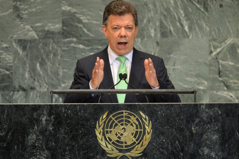 <p>Juan Manuel Santos Calderón, President of Colombia, speaks during the 67th session of the United Nations General Assembly September 26, 2012 at UN headquarters in New York</p>