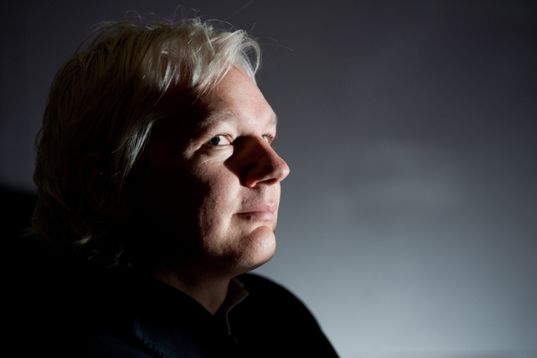 <p>A play about the life of WikiLeaks founder Julian Assange, pictured here at a press conference at City University London, premieres in London in January. (LEON NEAL/AFP/Getty Images)</p>
