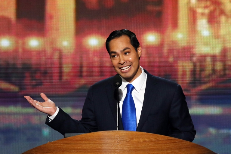 <p>Julian Castro, mayor of San Antonio, Texas, gives the keynote speech Tuesday night at the Democratic National Convention in Charlotte, NC.</p>