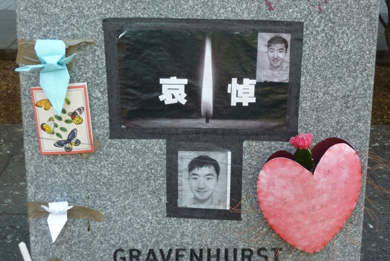 <p>A makeshift memorial for murdered Chinese student, Lin Jun, close to Concordia University in Montreal, Canada.</p>