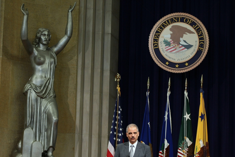 <p>US Attorney General Eric Holder speaks at the Justice Department.</p>
