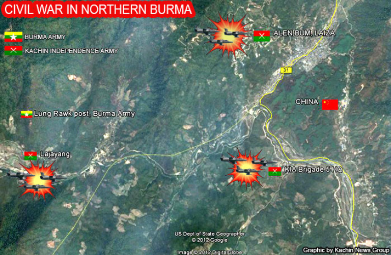 <p>Unverified locations of Myanmar military air strikes around the nation's northern border with China. The image, created by the Kachin News Group, details alleged positions of government strikes against the Kachin ethnic group's guerrilla army, known as the Kachin Independence Army. (Image created by Kachin News Group)</p>