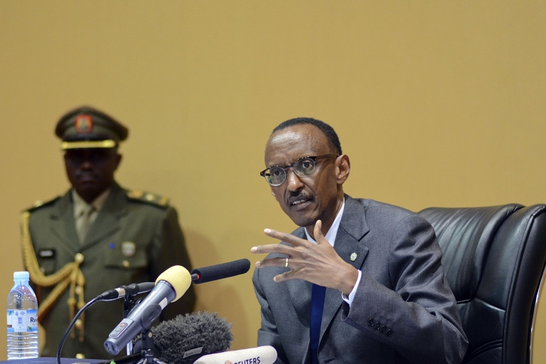 <p>President of Rwanda Paul Kagame speaks during a press conference in the Ugandan capital, Kampala on December 12, 2011 a day after he received the Lifetime Achievement Award for inspiring the young generation in Africa to desire for change and better life.</p>