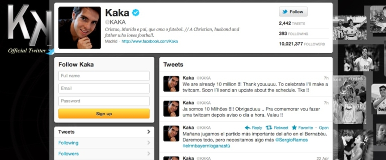<p>Brazilian soccer star Kaká is now Twitter's most popular athlete, with more than 10 million followers.</p>